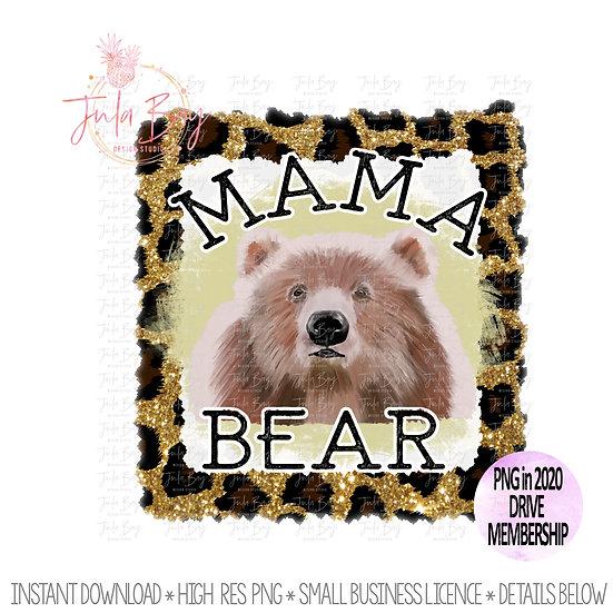 Mama Bear PNG Original Art Leopard Print Glitter Watercolor