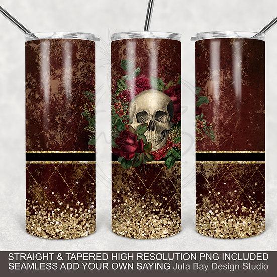 Full Wrap 20oz Skinny Tumbler PNG Sublimation Design Goth Skull Floral Design