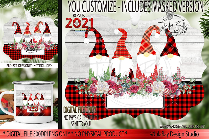 2021 Family Christmas Ornaments Family of 4 Gnomes with Masks Covid Christmas