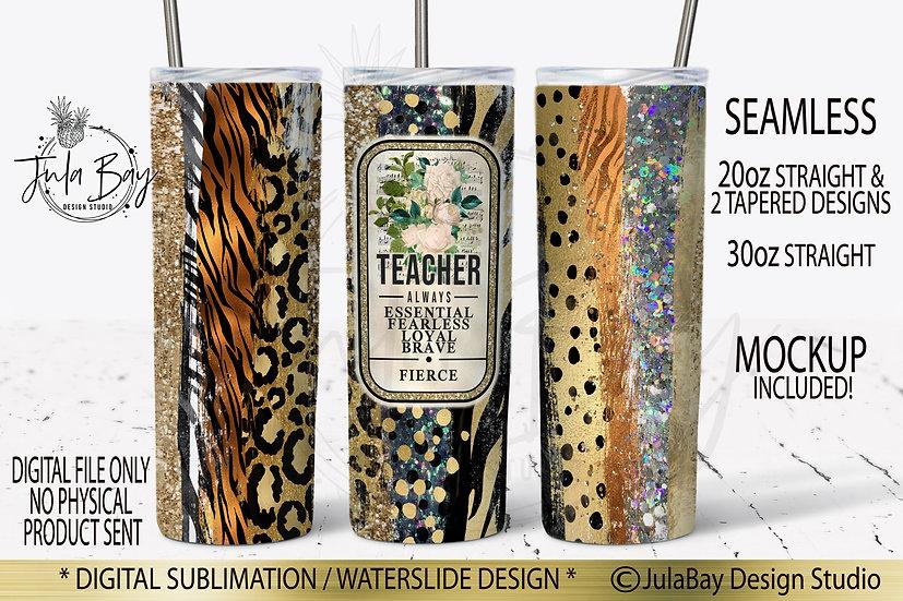 Teacher Tumbler Design Animal Print Brush Stroke Glitter Tiger Leopard Zebra