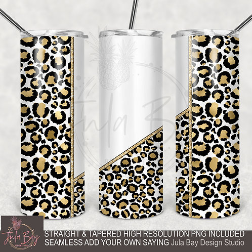 Customizable Leopard Print Full Wrap Tumbler Design PNG 20oz Skinny
