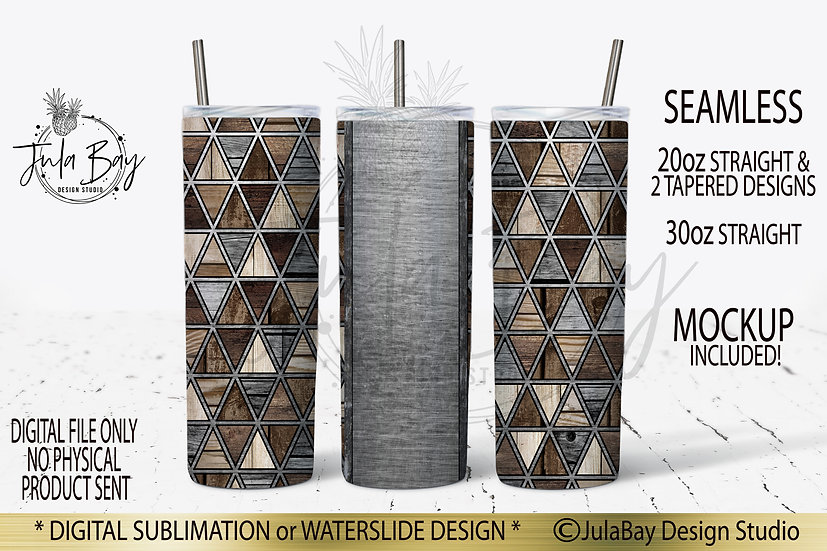 Masculine Geometric Skinny Tumbler Design PNG Wood Grain Triangle #geolavish
