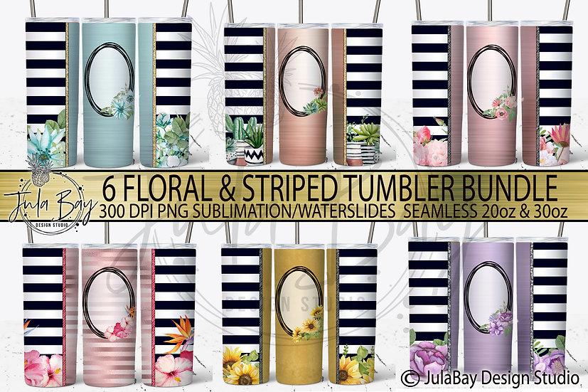 Floral Skinny Tumbler Template Bundle 6 Designs Sunflowers Succulents Pink Blue