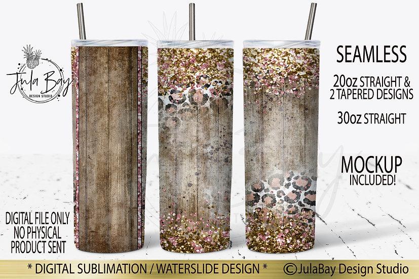 Shabby Chic Skinny Tumbler Design Leopard Print Glitter Border PNG