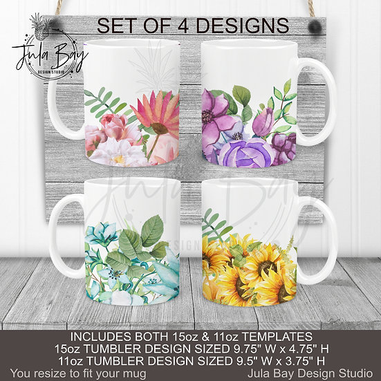 Multi Color Floral Mug Wrap 11oz 15oz Mug PNG BUNDLE Pink Purple Blue Sunflowers