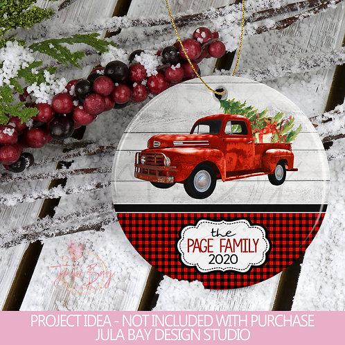 Buffalo Plaid Christmas Truck Christmas Ornament PNG Sublimation Design