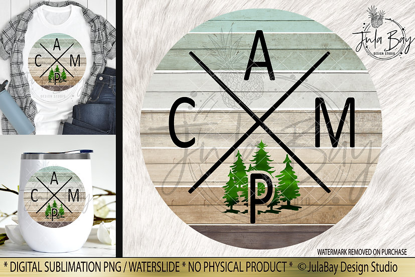 CAMP Sublimation Design Trees Rustic Wood Background