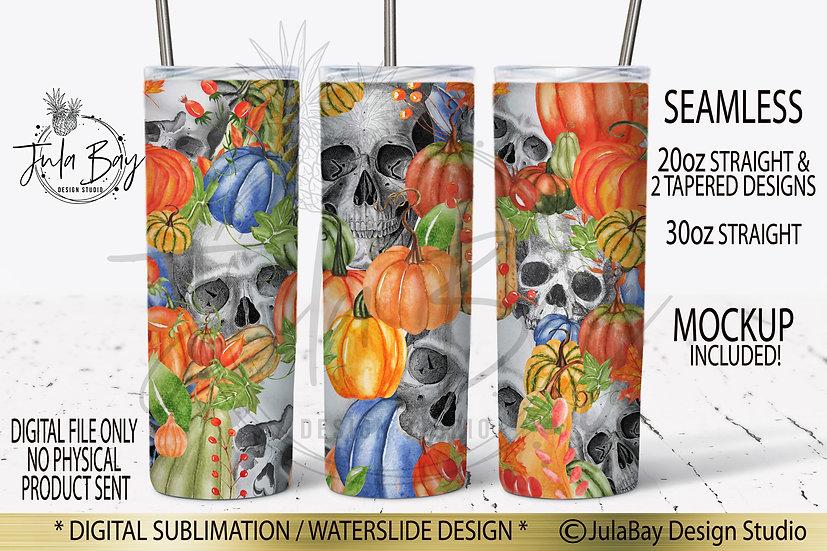 Halloween Skinny Tumbler Design Skulls and Pumpkins Wrap PNG
