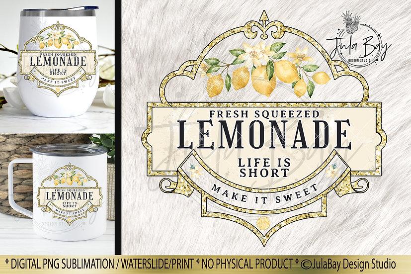 Lemonade Waterslide Design Iced Tumbler Sublimation Design PNG