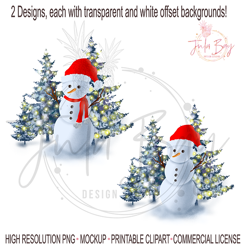 Snowman with Santa hat PNG Christmas Scene Snowman with christmas lights