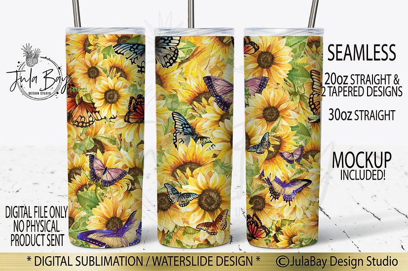 Sunflowers and Butterflies Skinny Tumbler Sublimation Design PNG