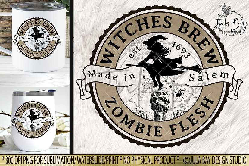Witches Brew Zombie Flesh Halloween Label PNG Potion Label Elixir