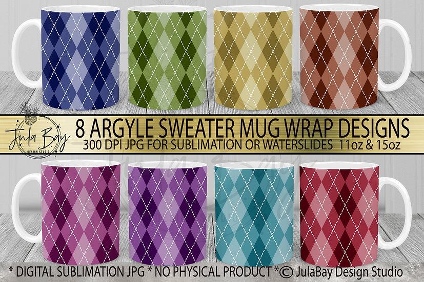 Argyle Pattern11oz Mug Wrap Bundle 15oz MugWrap