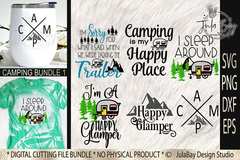 Camping Bundle SVG Funny Camping Designs PNG Mountains Trailer RV Camper