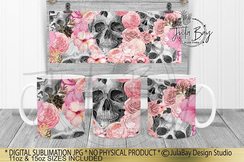 Skulls & Flowers Full Mug Wrap Sublimation Design Pink 11oz Coffee