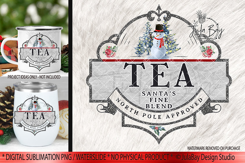 Christmas Tea PNG Christmas Sublimation Design Instant Download Snowman