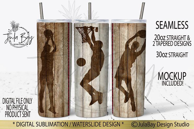 Basketball Woodgrain 20oz Skinny Tumbler PNG Sublimation Masculine