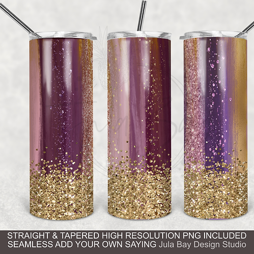Brush Strokes Glitter Seamless Full Wrap PNG Sublimation Skinny Tumbler
