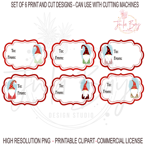 Christmas Gift Tags Gnomes Bundle PNG Print and Cut Gnomes Colorf