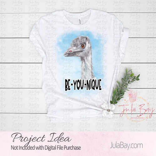 Be-YOU-nique watercolor Ostrich Emu Clipart PNG for Sublimation