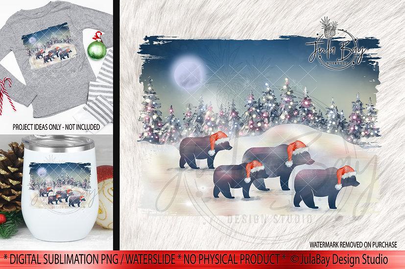 Family of 4 Christmas Bears PNG - Christmas Family Jammies Design - Rust