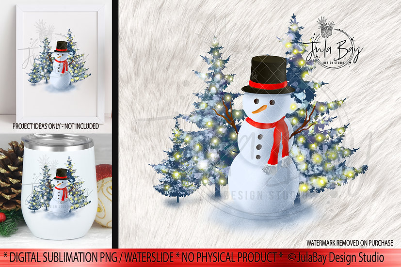 Snowman with Tophat & Scarf Christmas Scene Snowman Christmas Trees