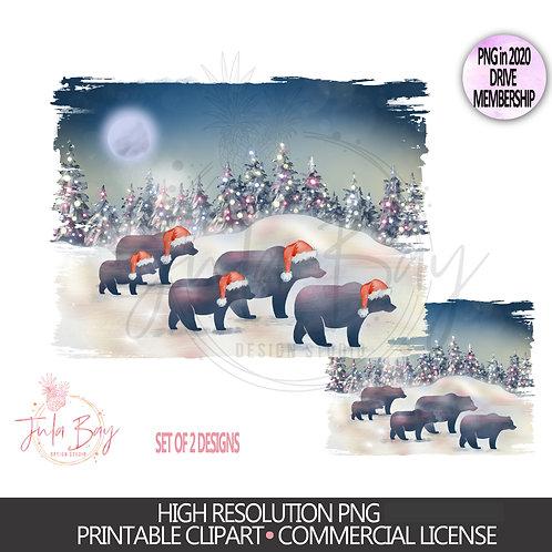 Family of 5 Christmas Bears PNG - Christmas Family Jammies Design - Rust