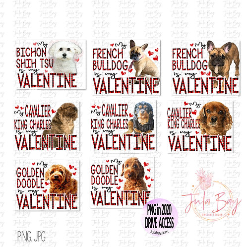 Dog is my Valentine Clipart Bundle - PNG Sublimation Designs Dog Breeds