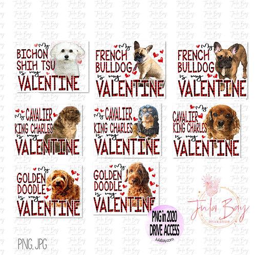 Dog is my Valentine Clipart Bundle - PNG Sublimation Designs Dog Breeds