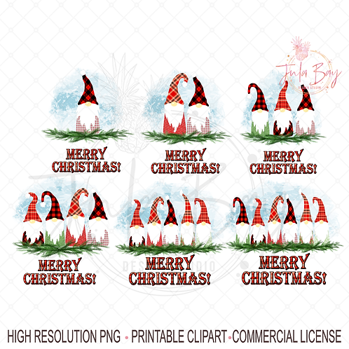Gnomes Bundle PNG - Set of Family of Gnomes for Christmas Jammies Sublimation