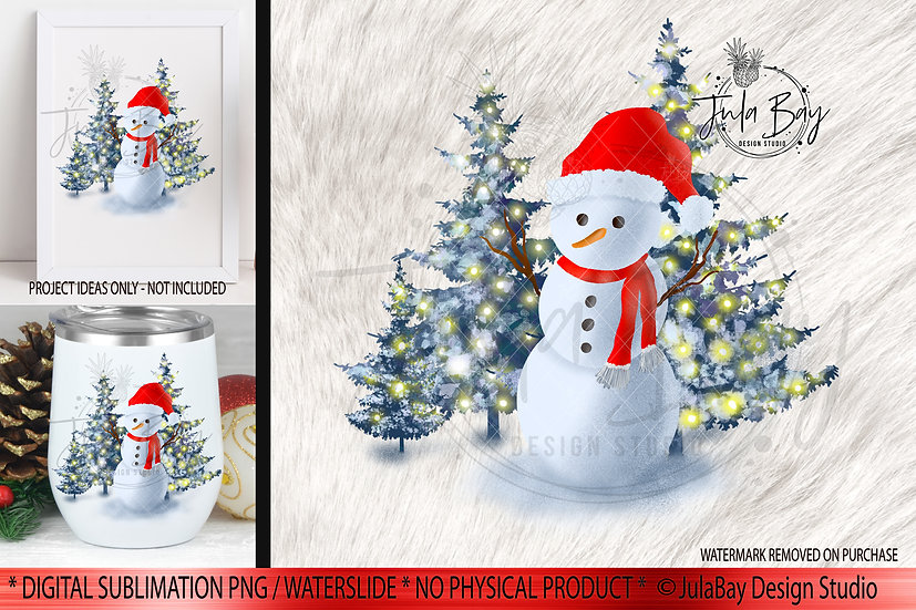 Snowman with Santa hat and Scarf PNG Christmas Scene Snowman Christmas Tree
