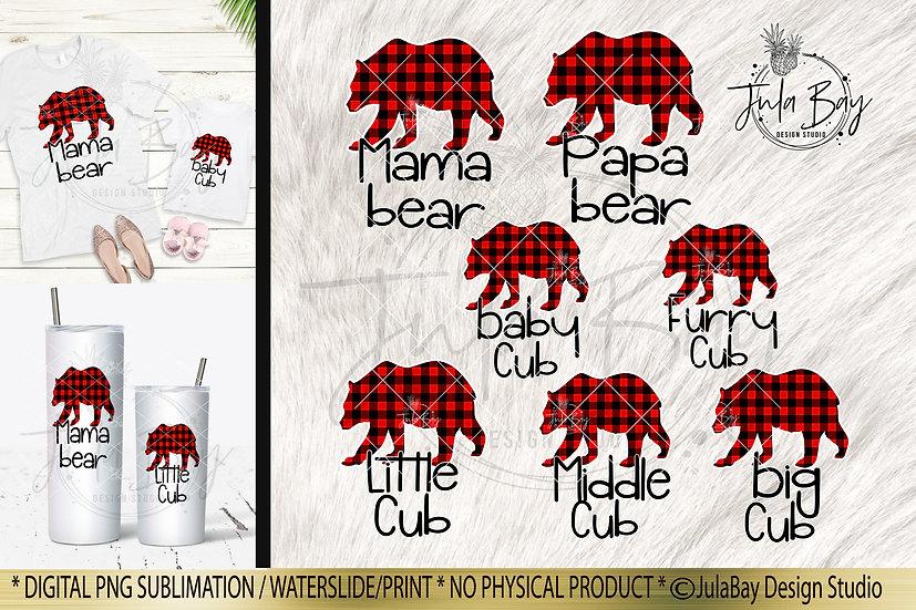 Christmas Pajama Sublimation Design PNG Matching Family Jammies Mama Bear