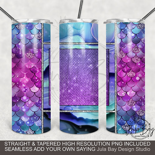 Mermaid Scales PNG Colorful Sublimation Design for Skinny Tumblers Full Wrap