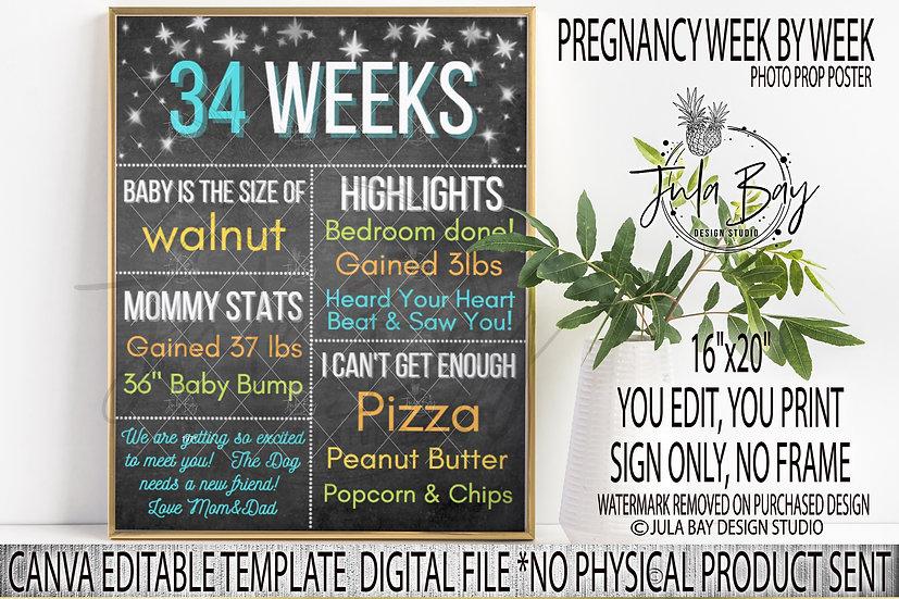 Pregnancy Week By Week Editable Chalkboard Sign - Canva Template