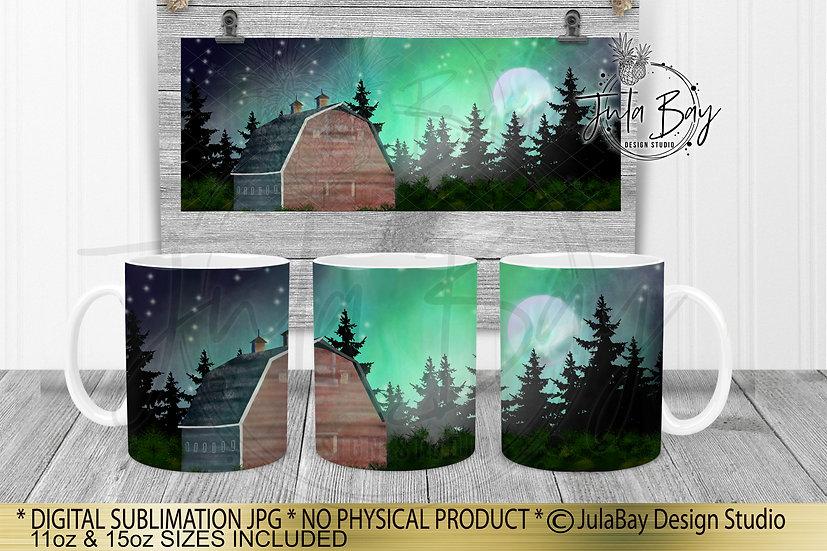 Barn Country Northern Lights Mug Full Wrap Sublimation Designs Mug Design PNG