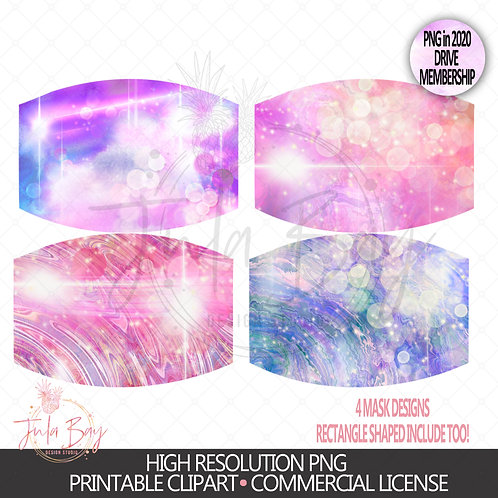 Alcohol Ink Inspired Mask Design PNG - Pretty Watercolor Mask Bundle