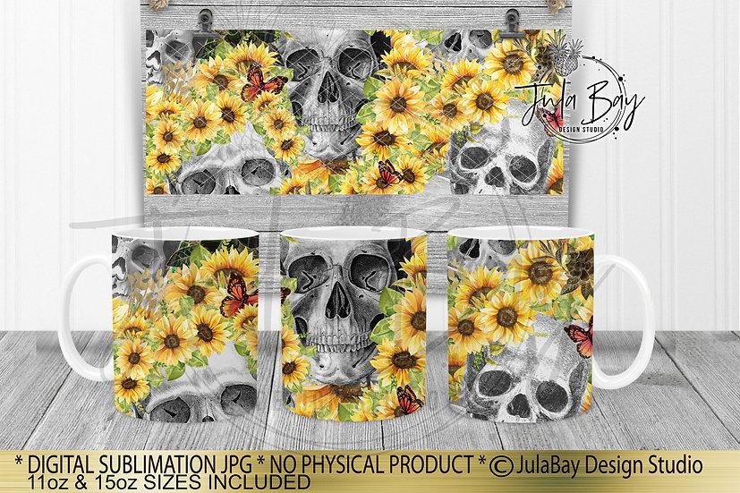 Skulls & Sunflowers 11oz & 15oz Full Mug Wrap Sublimation Design