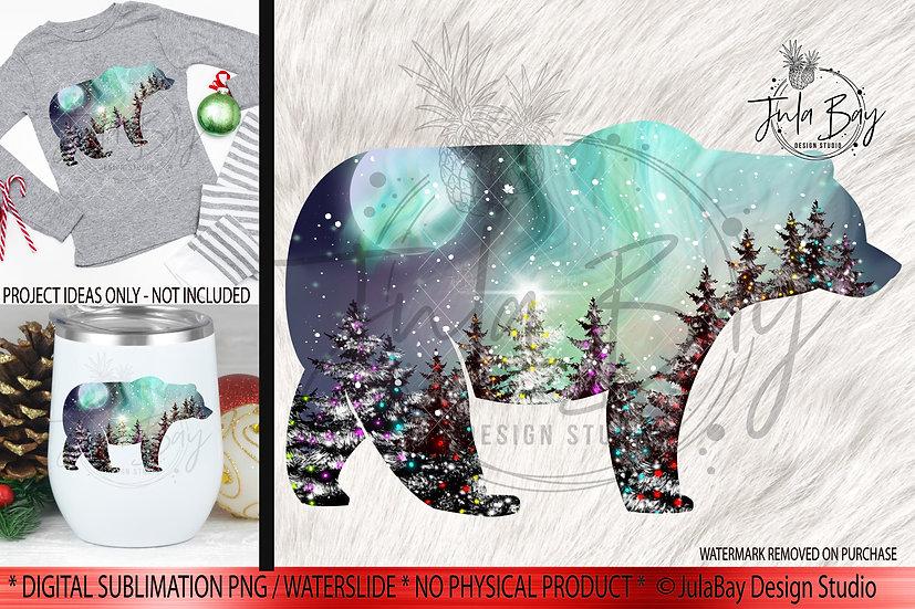 Christmas Sublimation Design Bear Northern Lights Scene