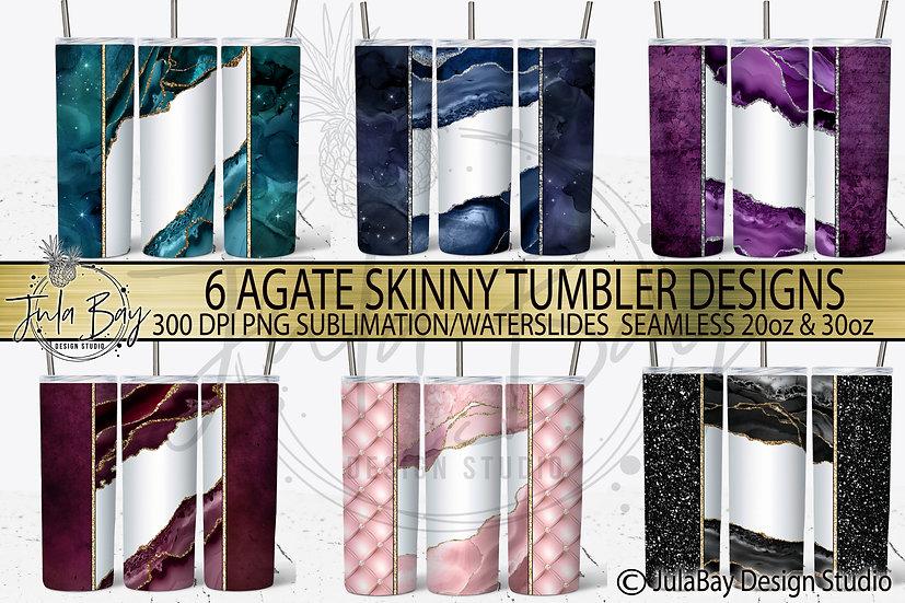 Agate Tumbler Template Bundle 6  Skinny Tumbler Templates Blush Teal Blue Purple