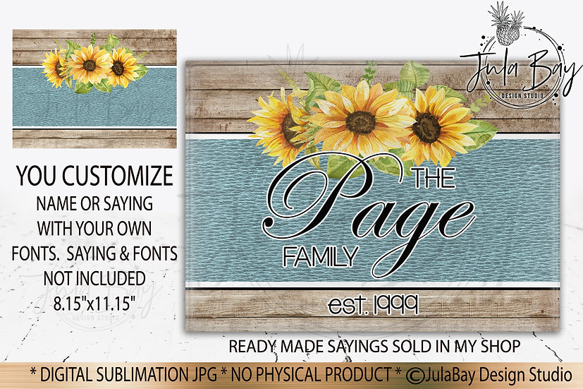 Customizable Family Cutting Board PNG Wood Grain and Leather Sunflowers PNG