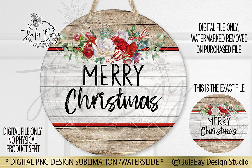 Round Sublimation Door Hanger Merry Christmas PNG Wood grain floral