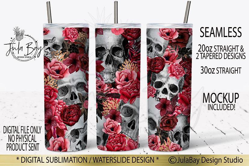 Skulls and Flowers Skinny Tumbler Design Sublimation Full Wrap Red Roses Flowers