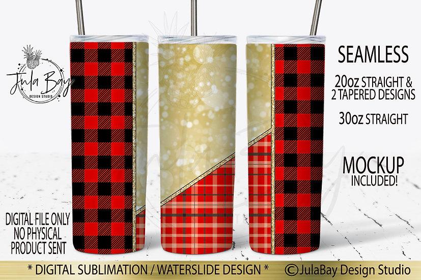Buffalo Plaid Full Wrap PNG sublimation  Skinny Tumbler 20oz Christmas Winter