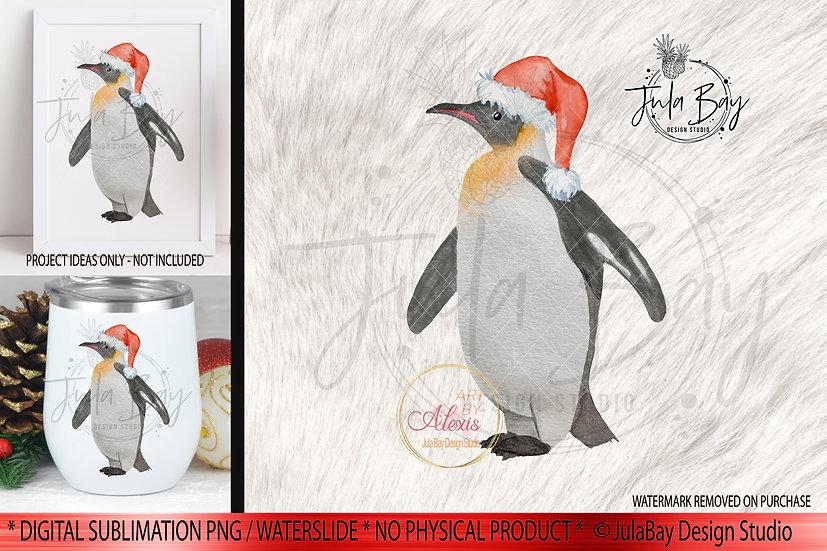 Watercolor Christmas Penguin PNG Santa Penguin Sublimation Design Art By Alexis