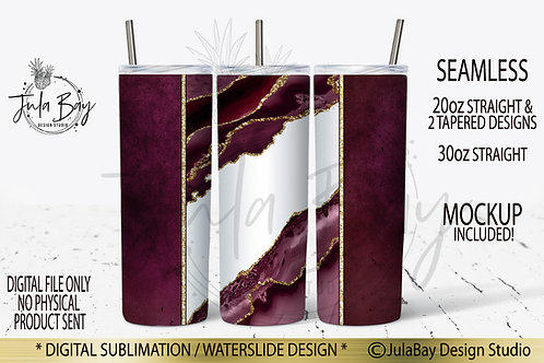 Mauve Agate Split Cup Seamless Full Wrap PNG Gold Glitter sublimation design for