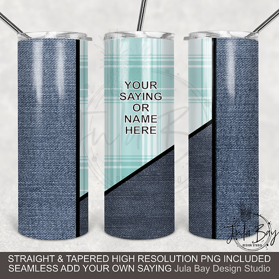 Blue Jeans Plaid Tapered Tumbler template 20oz Skinny Straight and Seamless
