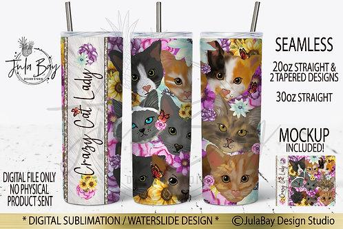 Crazy Cat Lady Skinny Tumbler Sublimation Design PNG Vet Tumbler Design