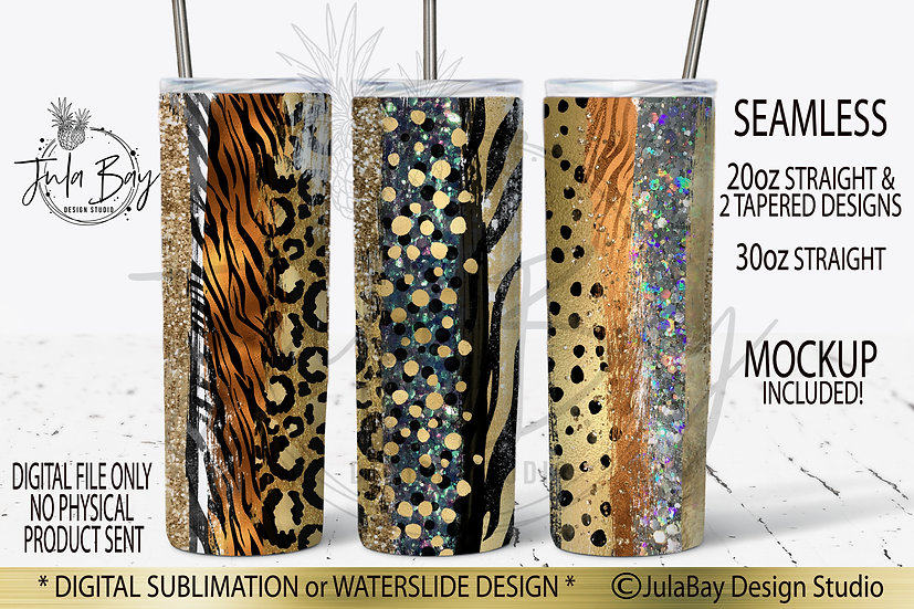 Animal Print Brush Stroke Tumbler Design Glitter Tiger Leopard Zebra