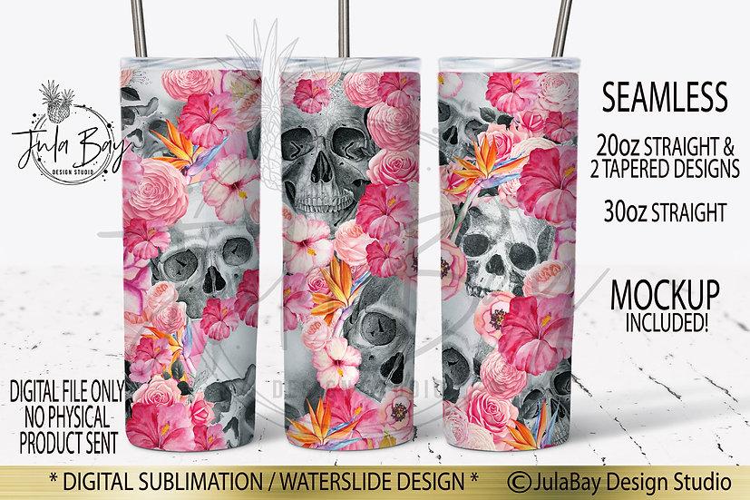 Skulls and Tropical Flowers Skinny Tumbler Design Sublimation Full Wrap