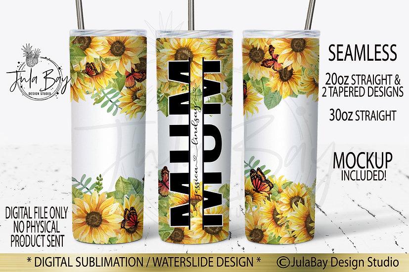 Sunflowers & Butterflies Skinny Tumbler Sublimation Design Mum Split Design